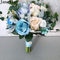 JaneVini Western Wedding Bouquet Blue Artificial Bridal Flowers Bride Bouquets White Silk Rose Bouquet Fleur Artificielle 2019