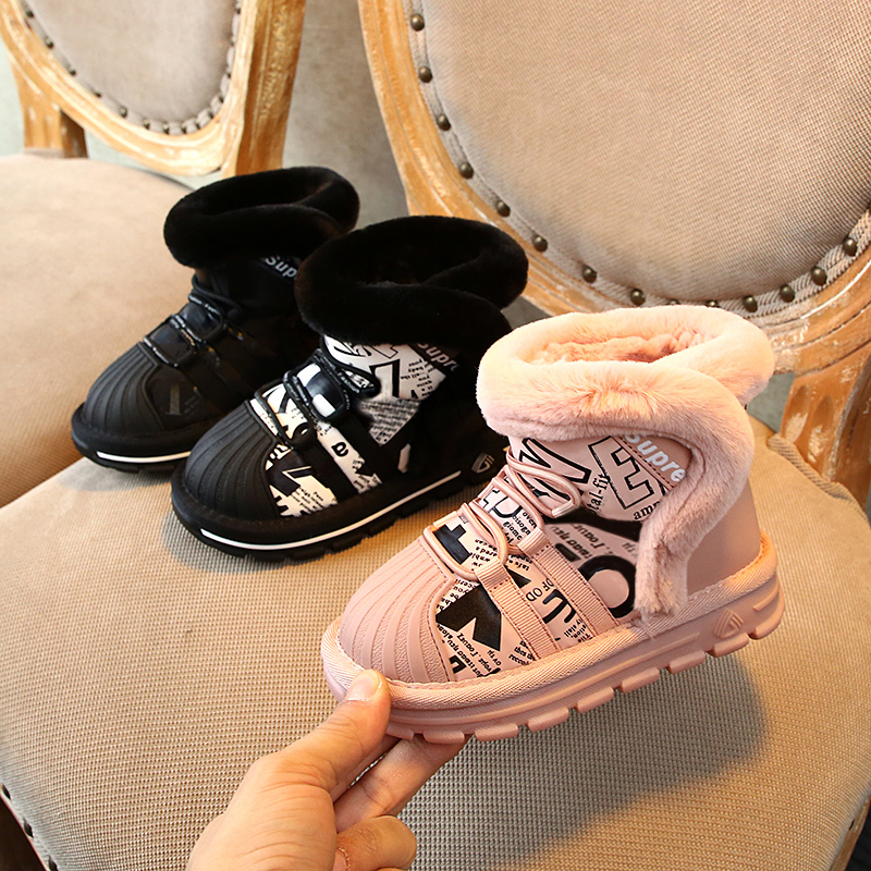 Children Boots Fashion Shell Head Children's Plush Snow Boots 2019 Winter New Boys And Girls Genuine Leather Cotton Shoes