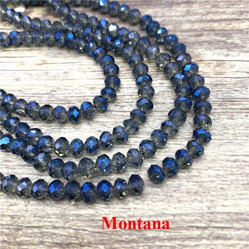 2X3/3X4/4X6/6X8 мм хрустальные бусины AB разноцветные стеклянные бусины Sapcer для ювелирных изделий ручное кольцо Ожерелье Изготовление DIY - Цвет: Montana