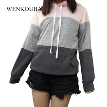 Women Pullovers Autumn Patchwork Hoodies Women Casual Sweats