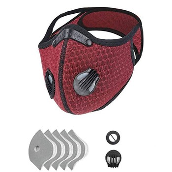 1pcs Mouth Cover With 5pcs Filter Unisex Sport Face Mask Bike Face Cover 1 Valve Dustproof Pm2.5 Protection Cycling Mask