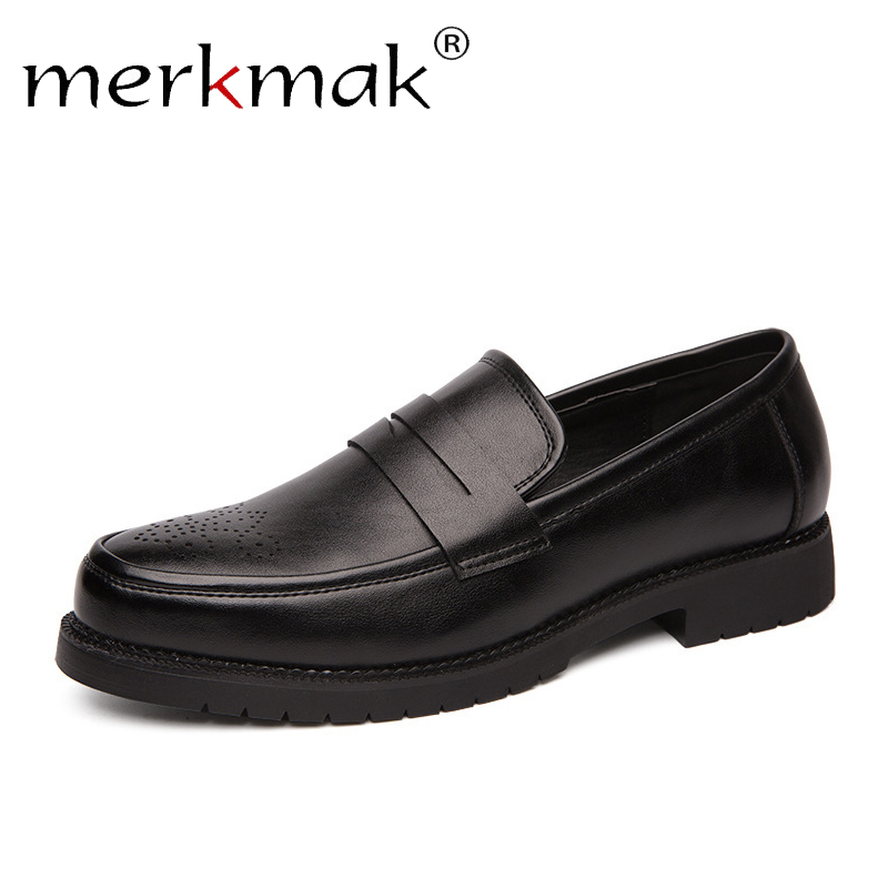 Merkmak Casual Bullock Carved Leather Men Shoes Slip On Autumn Dress Shoes Comfortable Performance Man Big Size 38-46 Moccasins