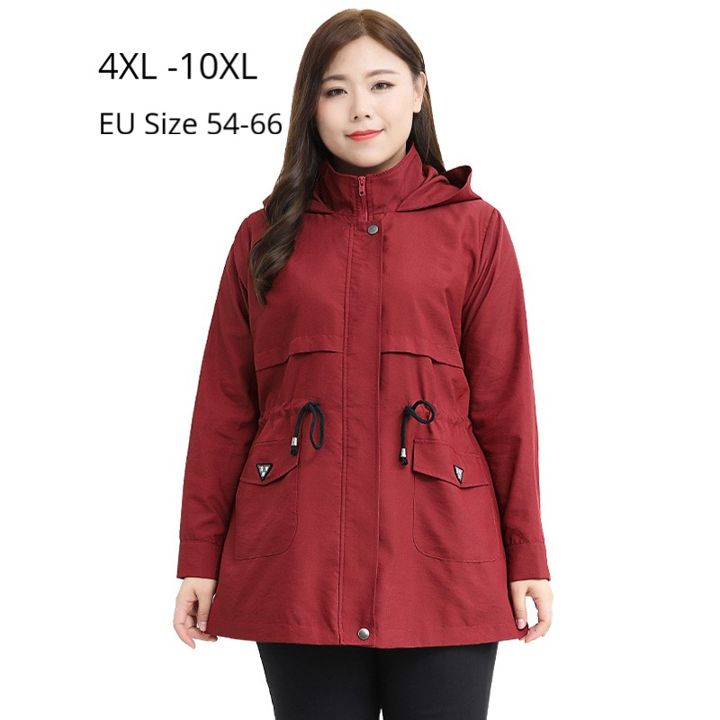 Plus Size 10XL 9XL 8XL 4XL Women Autumn Spring Long Sleeve Hoodies Trench Coat Female Elegant Black Red Slim Oversize Coats