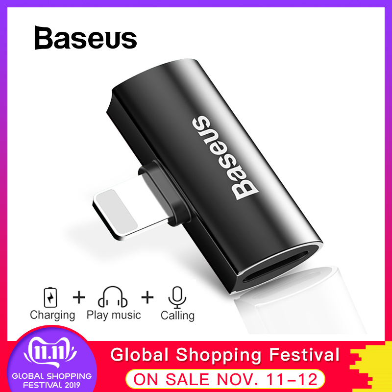 Baseus Aux Audio Adapter For IPhone X 8 7 Plus Splitter 2 In 1 Earphone Headphone&Charge Cable For IPhone XR Xs Max USB Adapter