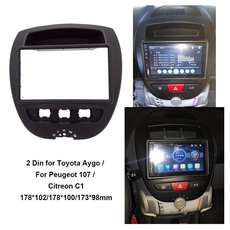 2 Din Автомобильная стереофоническая панель подходит для Toyota Aygo/для peugeot 107/Citreon C1 фасции приборной панели радио Панель покрытие для стереосистемы пластина отделка