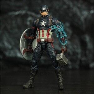"Image 4 - נוקם סוף המשחק קפטן אמריקה 6 ""פעולה איור KO של ML אגדות Custom סטיבן רוג רס Mjolnir ראוי קפטן ראש בובה צעצועים"