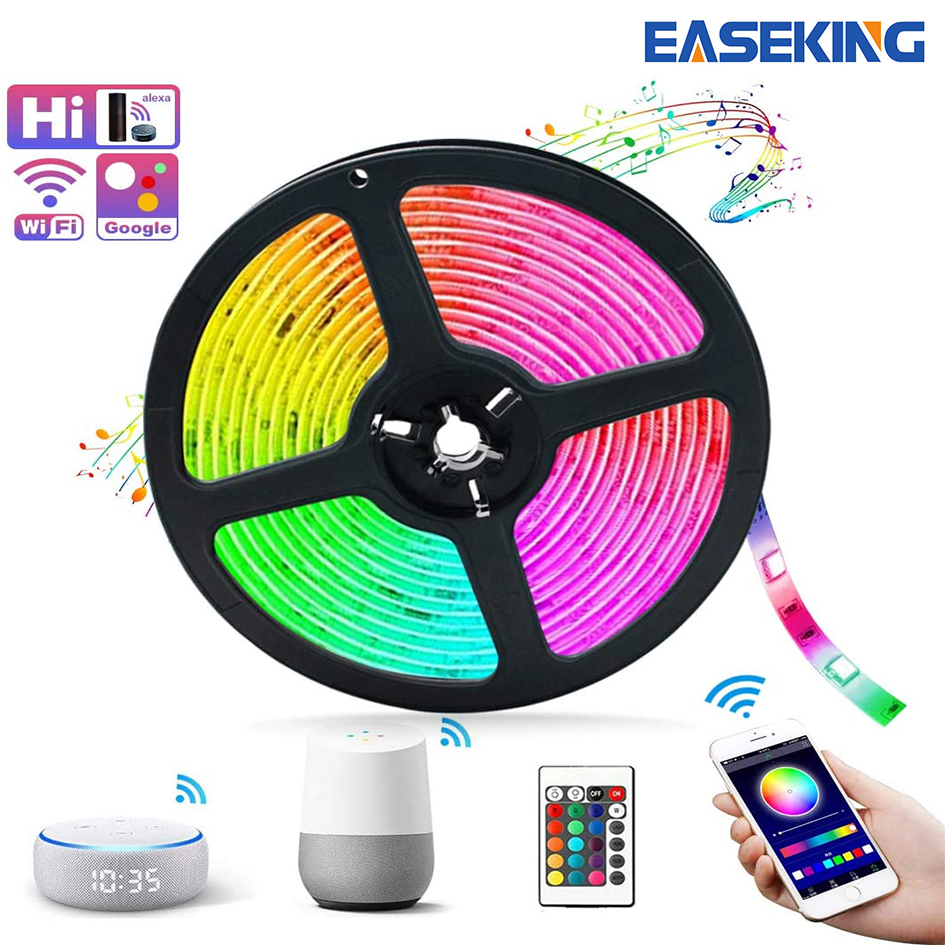 Easeking LED Strip Lights, 32.8ft WiFi Wireless Smart Phone Controlled Strip Light Kit 5050 RGB 300LEDs Lights with Power Supply image