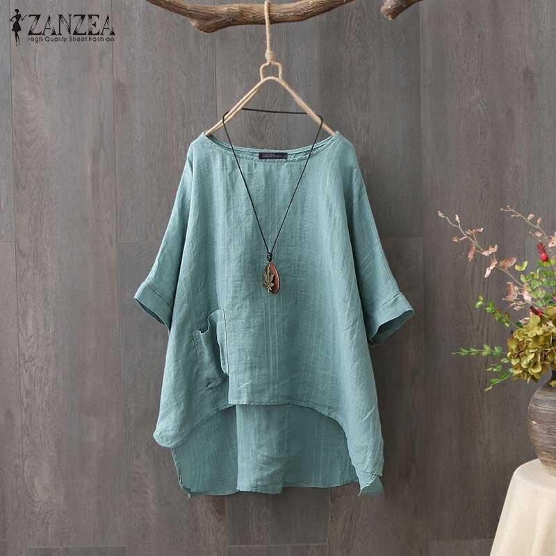 ZANZEA Summer Half Sleeve Cotton Linen Blouse Women Tunic Tops Casual Loose Vintage Blusas Femininas Plus Size Solid Work Shirt