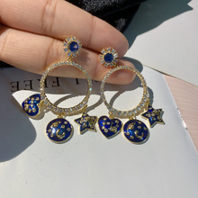big cz circle with blue heart and star charm drop fashion earrings for women цена