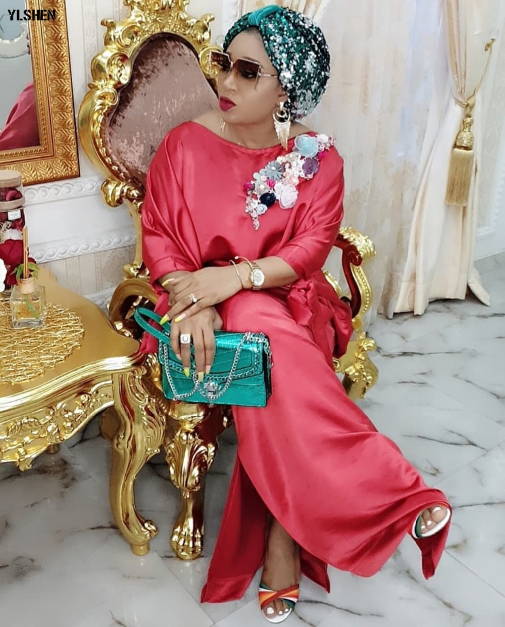 2019 African Dresses for Women Plus Size Boubou Africain Dashik Bow African Clothes New Flowers Robe Africa Dress Outfit Woman 03