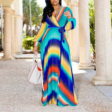 Fashion Stripe Floral Print Chiffon Maxi Dress Women Plus Size African Robe Ladies Casual Autumn Long Sleeve Blue Dresses