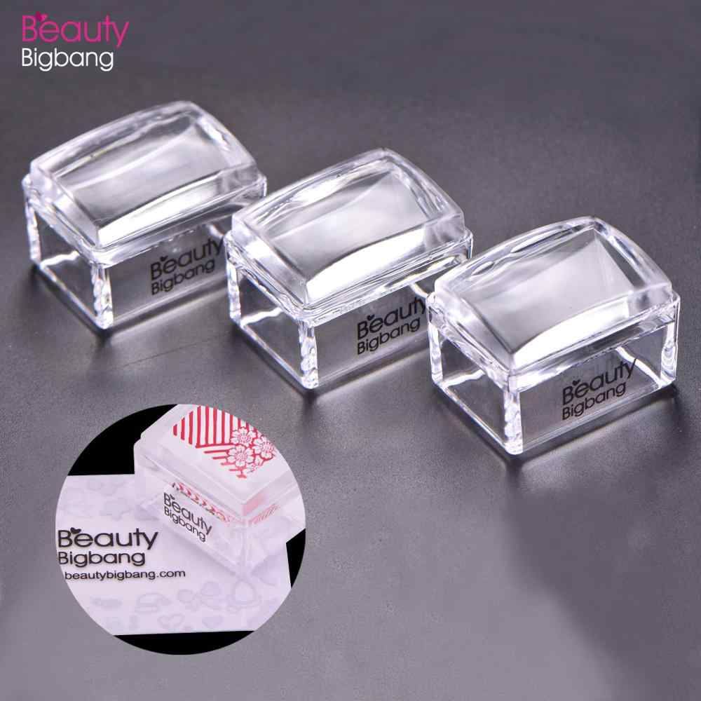 Beautybigbang 1 Set Persegi Panjang Jelly Silikon Kuku Stamper Jelas Menangani Manikur Template Cap Alat Stamper untuk Stamping