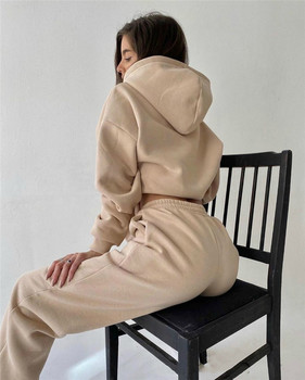 2 Piece Set Women Spring Autumn Tracksuit Solid Hooded Sweatshirt Top And Wide Leg Pants Suits Loose Casual Fashion Sportswear