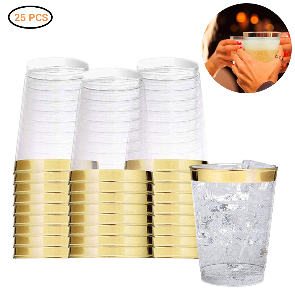 Quality 100pcs 12OZ Gold Cups,Disposable Gold Glitter Plastic Cups-Premium