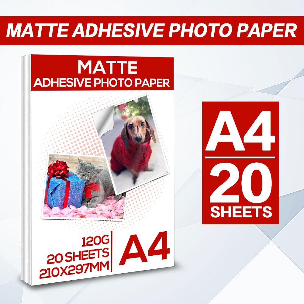 20 Sheets A4 Matte adhesive photo paper Matte Printing Paper for Inkjet Printer 210 X 297mm Self-adhesive paper Inkjet Printing