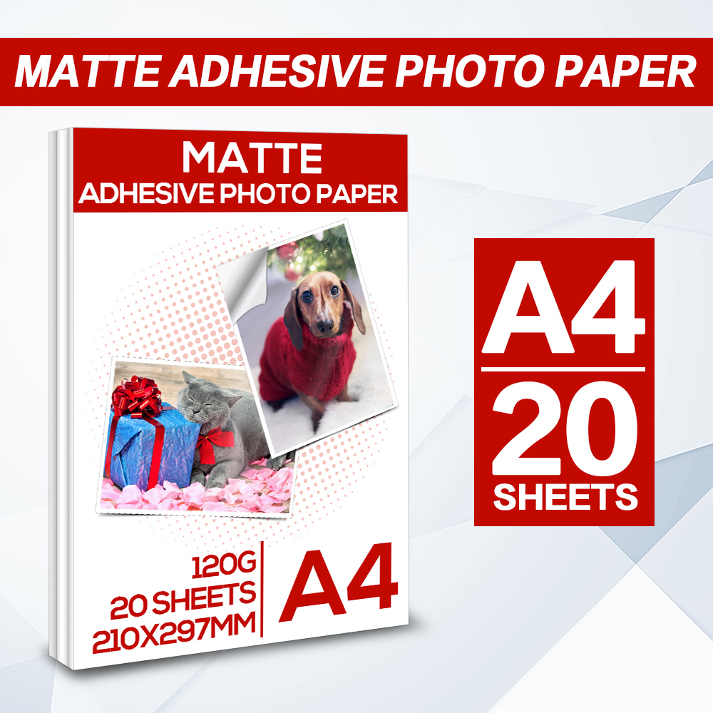 Matte Photo Paper 20 Sheets A4 Paper Adhesive paper for for Inkjet printer inkjet sticker photo paper 210 X 297mm Matte paper