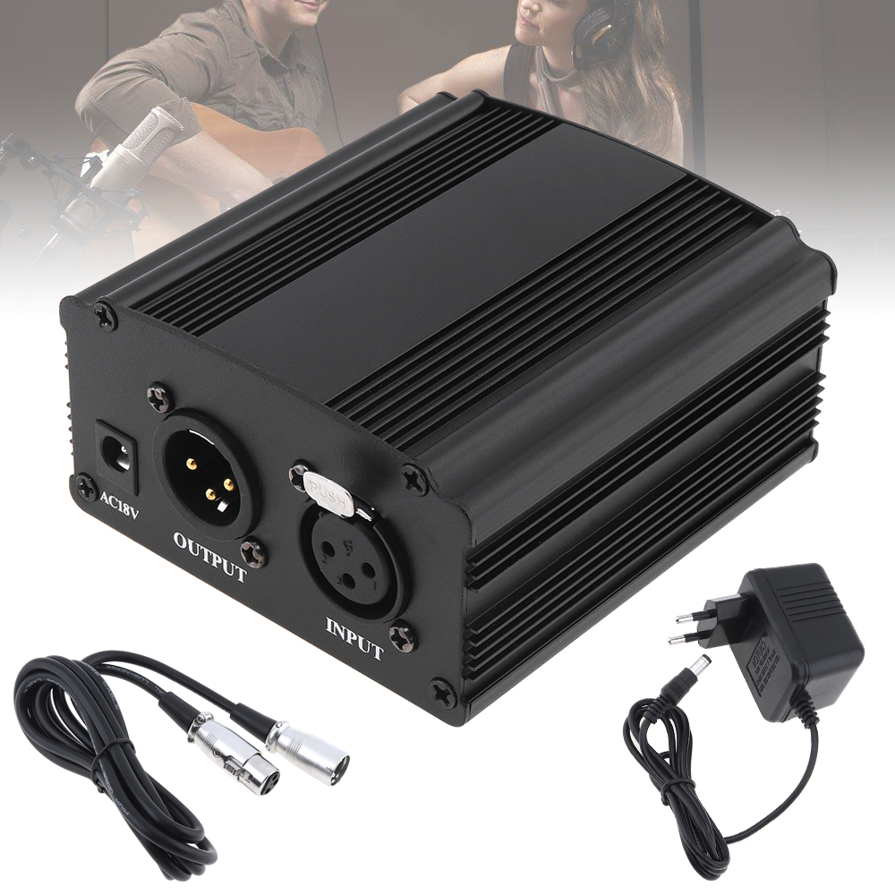 <font><b>48V</b></font> 1Channel Phantom Power Supply with One XLR Audio Cable AC220V EU <font><b>Adaptor</b></font> for Condenser Microphone Voice Recording Equipment image