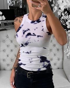 Mulher verão elegante sexy tie dye print sem mangas regata