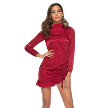 New Dress Sexy Women's Long Sleeve Stand Collar Casual Hip Wrap Dresses