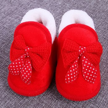 Newborn Unisex Baby Plush 0-12 Months Toddler Shoes Infant Sole Shoes Warm Winter Soft Bottom Non-slip Lace-up Shoes image
