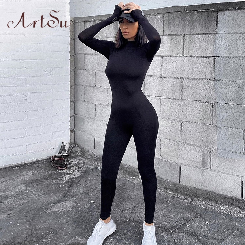 Artsu Women Long Sleeve Fitness Jumpsuit Bodycon Zipper Skinny Female Casual Bodysuit Rompers Vintage Overalls ASJU70158
