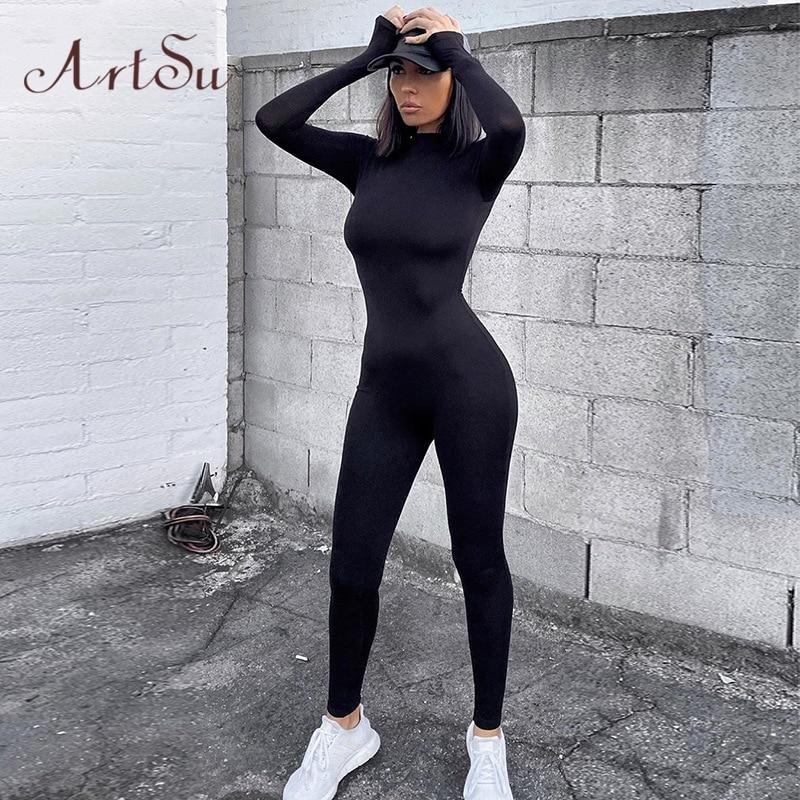 Artsu Women Long Sleeve Fitness Jumpsuit Bodycon Zipper Skinny Female Casual Bodysuit Rompers Vintage Overalls ASJU70158