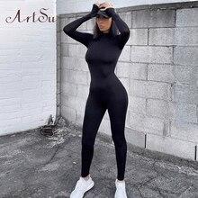 Artsu Women Long Sleeve Fitness Jumpsuit Bodycon Zipper Skinny Female Casual Bod