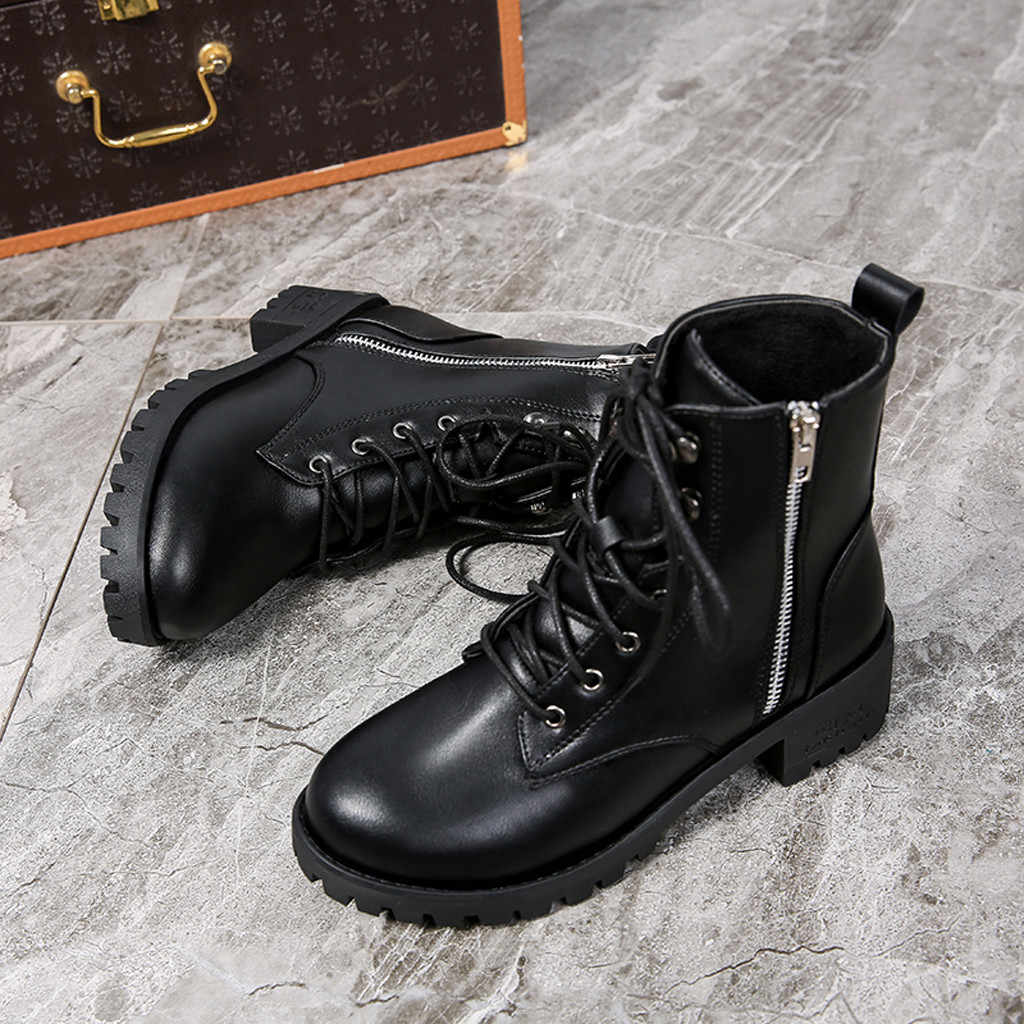 Women's Ladies Vintage Martin Boots Leather Zipper Ankle Boots for Women Short Cowboy Motorcycle Boots Shoes woman botas mujer