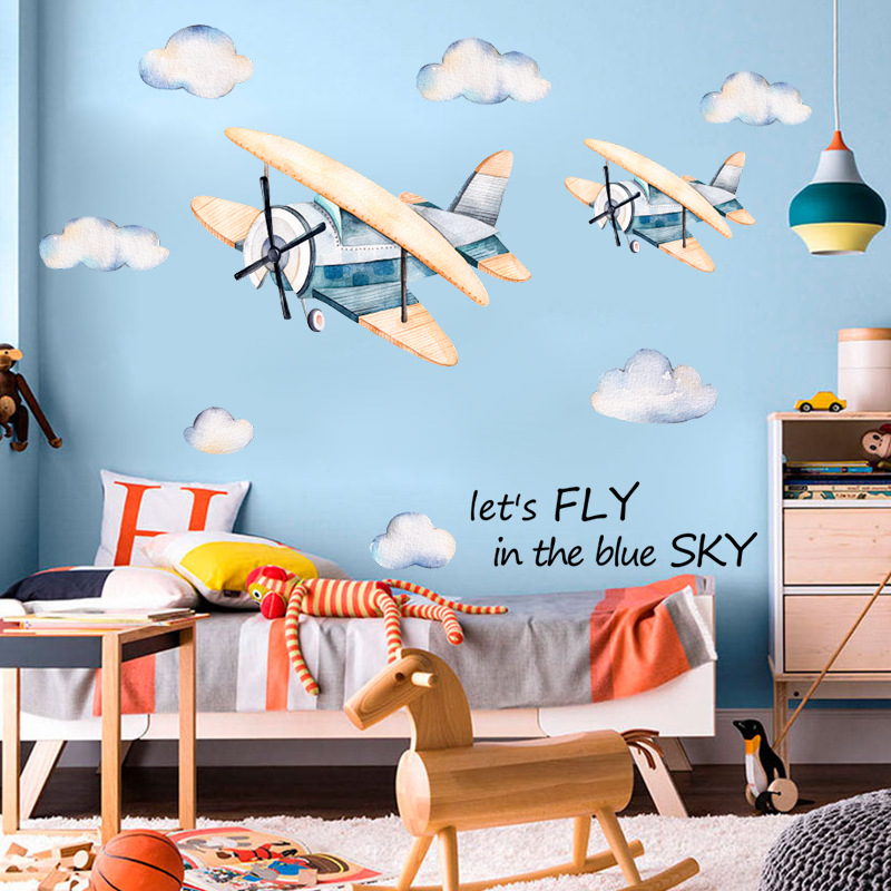 Cartoon watercolor cloud airplane wall stickers kindergarten bedroom stairwell background decoration pvc self-adhesive decals image
