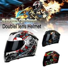 Полнолицевые шлемы с двойными линзами мотоциклетный Профессиональный гоночный шлем из углеродного волокна козырек для мотокросса мотоциклетный шлем