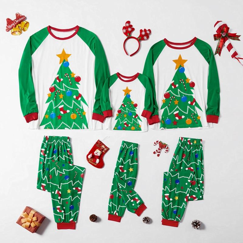 2020 nouveau noël famille correspondant tenues noël pyjamas ensemble Parents enfants décontracté arbre imprimer bébé maman famille Look Pijamas ensembles