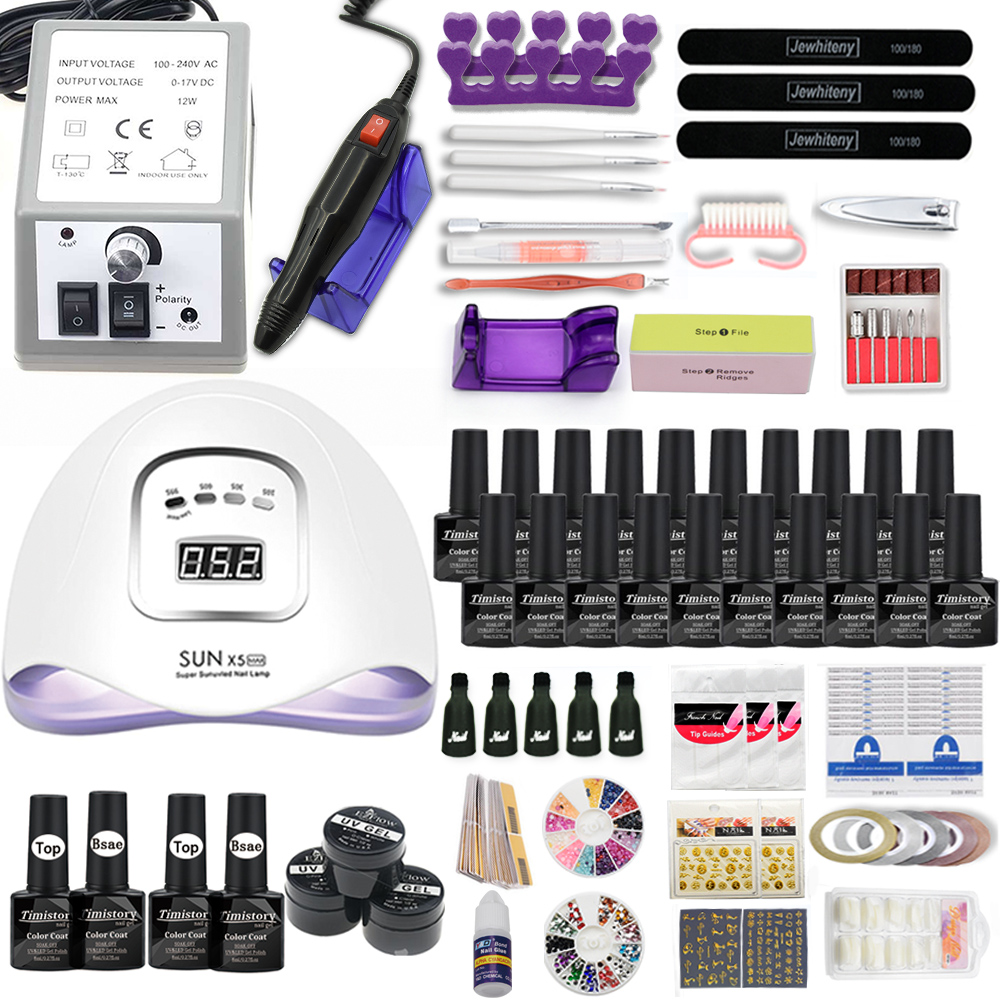 Gel Nail Set With 80W UV LED Nail Lamp Optional 20/10 Color Gel Polish With Base Top Coat Extension Gel Electric Nail Drill Kit