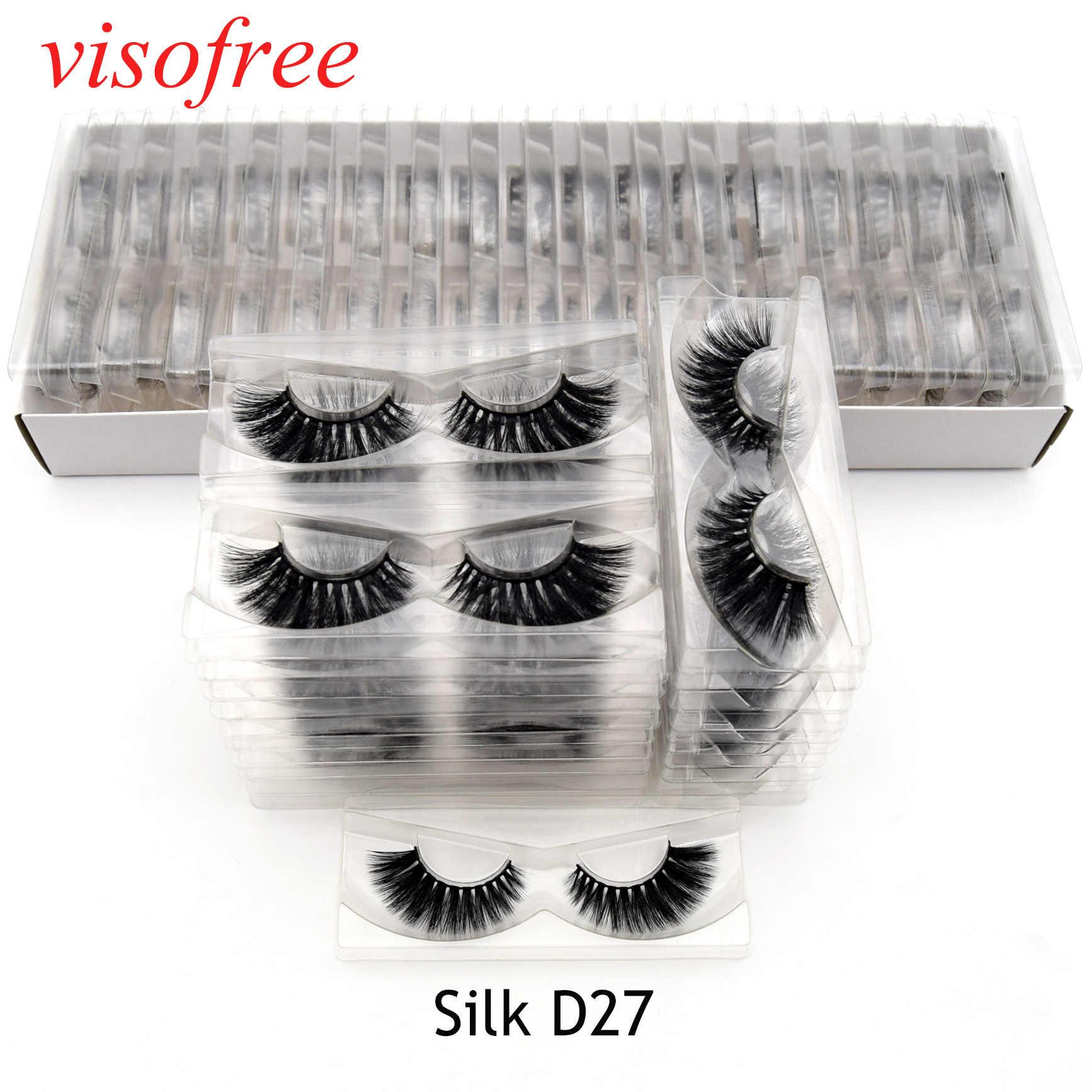 Visofree 30 пар/лот 3D Искусственные Шелковые ресницы крылатые шелковые ресницы бескровные многоразовые ресницы макияж Silk-D27
