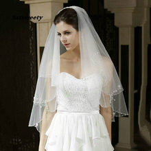2020 Fashion White or Ivory Short Wedding Veil with Crystal Edge Comb 2 Beaded Accessories Bridal Veils In Stock