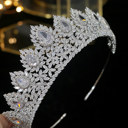 Luxe crystal crown tiara wedding party graduation ceremony haaraccessoires grote kroon AAA CZ bruiloft haar accessoires kroon