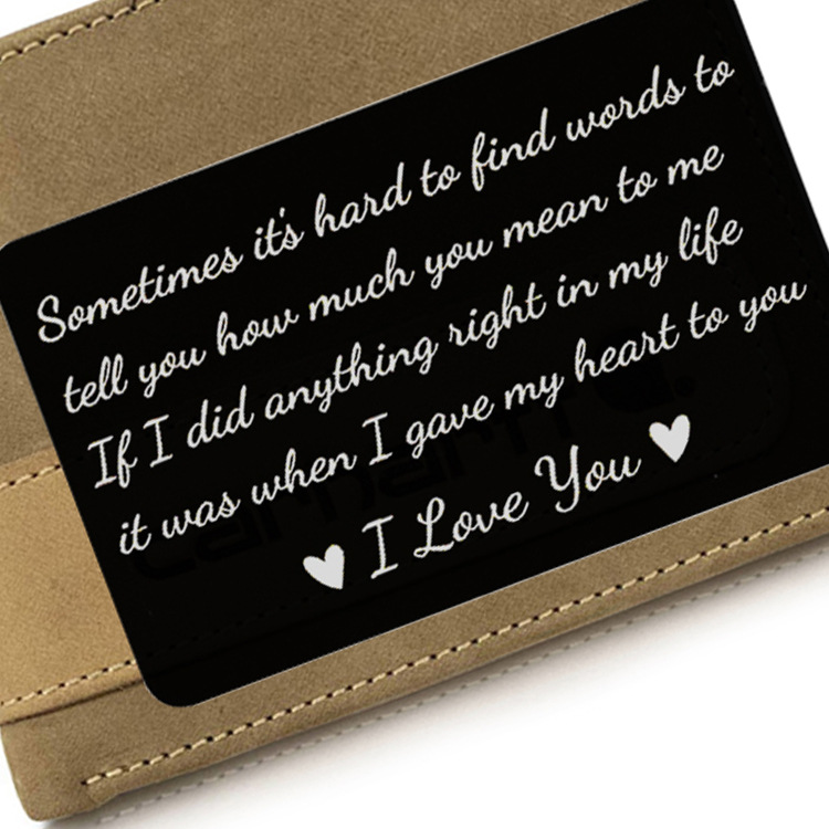 Gifts Engraved-Wallet Note Party-Favors Anniversary Husband Boyfriend Mini Love for Men