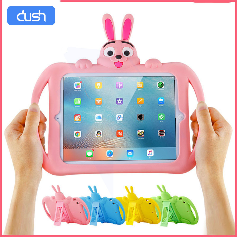 DUSH Case For Ipad 9.7 Mini Hand-held Shock Proof Full Body Protection Cover Handle Stand Case For Kids Apple Ipad 2 3 4 Holder
