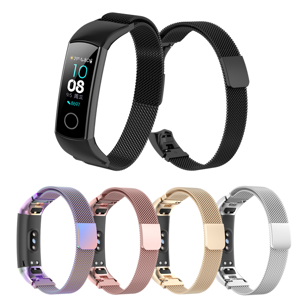 For Honor Band 5 Strap Magnetic Bracelet For Honor Band 4 Strap Metal Bands For Honor Band5 4 Milanese Stainless Steel Wristband