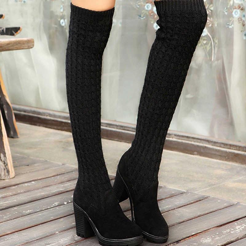 Laarzen Vrouw Mode Schoenen Vrouw Gebreide Vrouwen Knie Hoge Laarzen Elastische Slanke Herfst Winter Warme Lange Dij Hoge Schoenen
