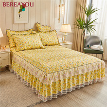 Luxury Bed Skirt Vintage Princess Lace Bedspread Bed Sheet With Cotton Warm Thick Bedding Bed Cover Pillowcase Queen King Size