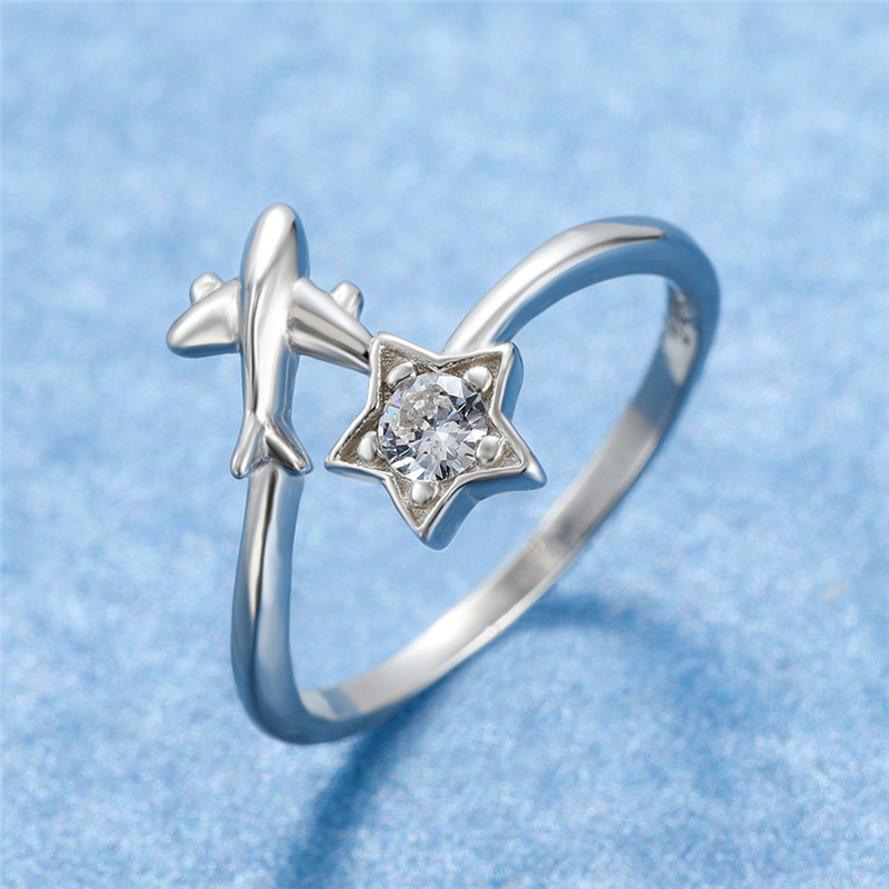 Unique Ladies Plane Star Ring With Zircon Classic Love Wedding Rings For Women Elegant 925 Sterling Silver Party Finger Ring