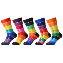 SANZETTI 1Pair New Men's Casual Combed CottonColorful Rainbow Happy Socks Person