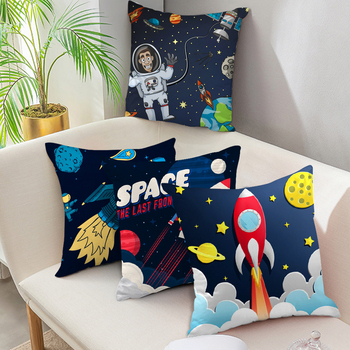 Fuwatacchi Cartoon Spacecraft Cushion Cover Astronaut Rocket Decorative Pillows Case for Home Chair Space Pillow Cover 45*45cm fuwatacchi black gold foil linen cushion cover leaf flowers diamond pillow cover for home chair sofa decorative pillows 45 45cm