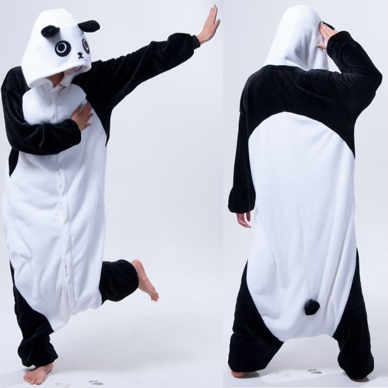 Adult Panda Long Sleeve Hood Onesie Men Women Flannel Warm Panda Pajama Whole Onepiece 2019 Animal Pajamas Winter Onsie