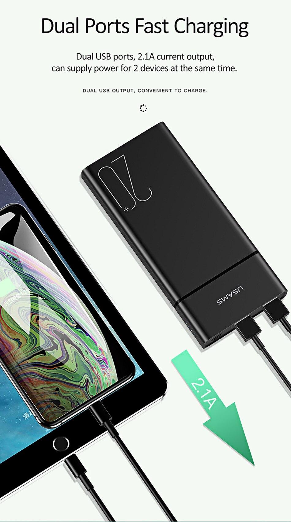 USAMS 20000 мАч Быстрая зарядка банка мощности для Xiaomi Mi 20000 мАч повербанк для iPhone зарядное устройство Внешний аккумулятор зарядное устройство Банк мощности