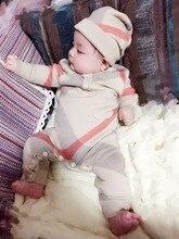 Ilkbahar Sonbahar Ve Kış Bebek erkek Ve Kız Sevimli Haki Örgü Tulumlar, uzun Kollu Ekose Örme Pamuklu Giysiler + Şapka