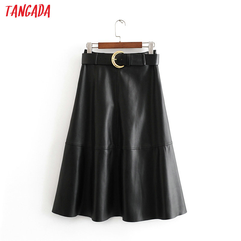 Tangada Women Black PU Leather Midi Skirts With Slash Elegant Retro Office Ladies Skirts 3H164