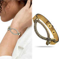 Church Vintage Silver Christian Jesus Fish Leather Catholic Bracelet Pulseiras Bangles Cuff Anime Indian Jewelry