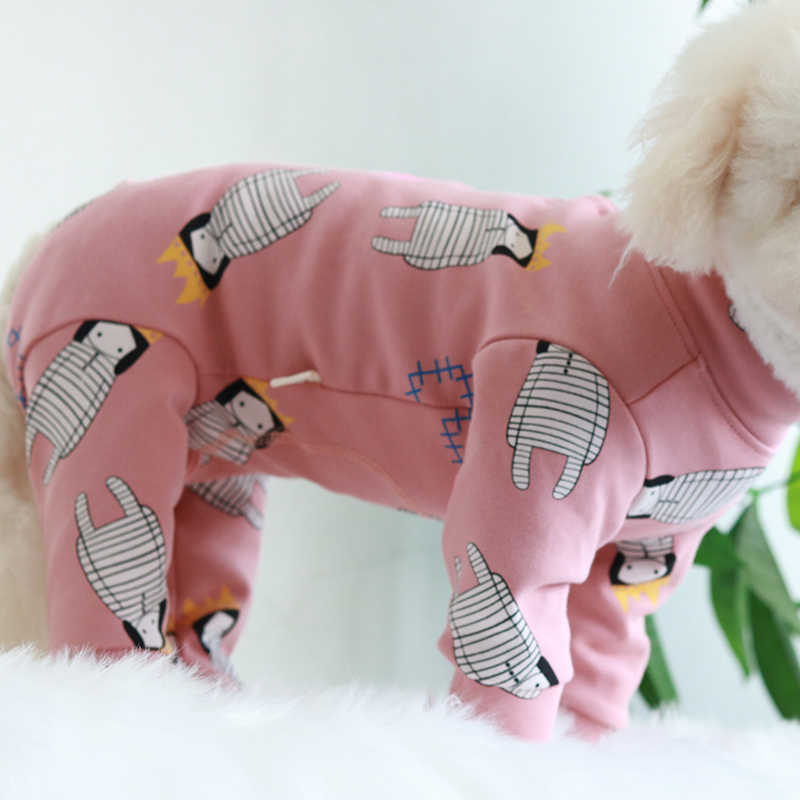 Pet Dog Jumpsuit Protect Belly Overalls Puppy Clothes For Small Dogs 100%Cotton Pajamas Long Sleeve Pink Sweatshirt Chihuahua