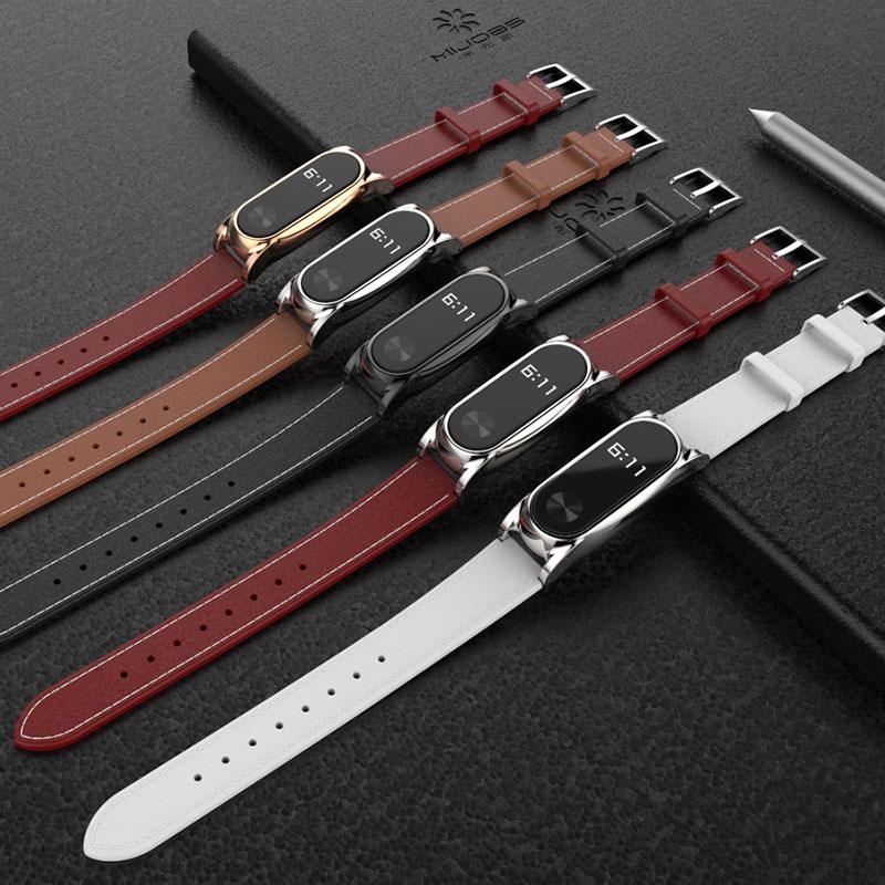 Mijobs Leather Strap For Xiaomi Mi Band 2 Bracelet Correa For Mi Band 2 Strap Screwless Wrist Strap Smart Wristband Accessories
